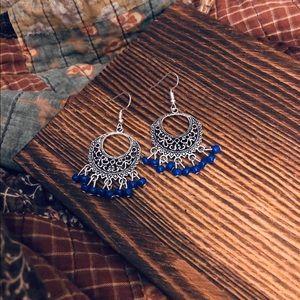 Boho Blue Chandelier Dangling Silver Earrings NWT